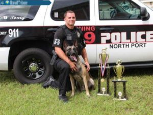 North Port Police Officer Keith Bush and police dog Tomy