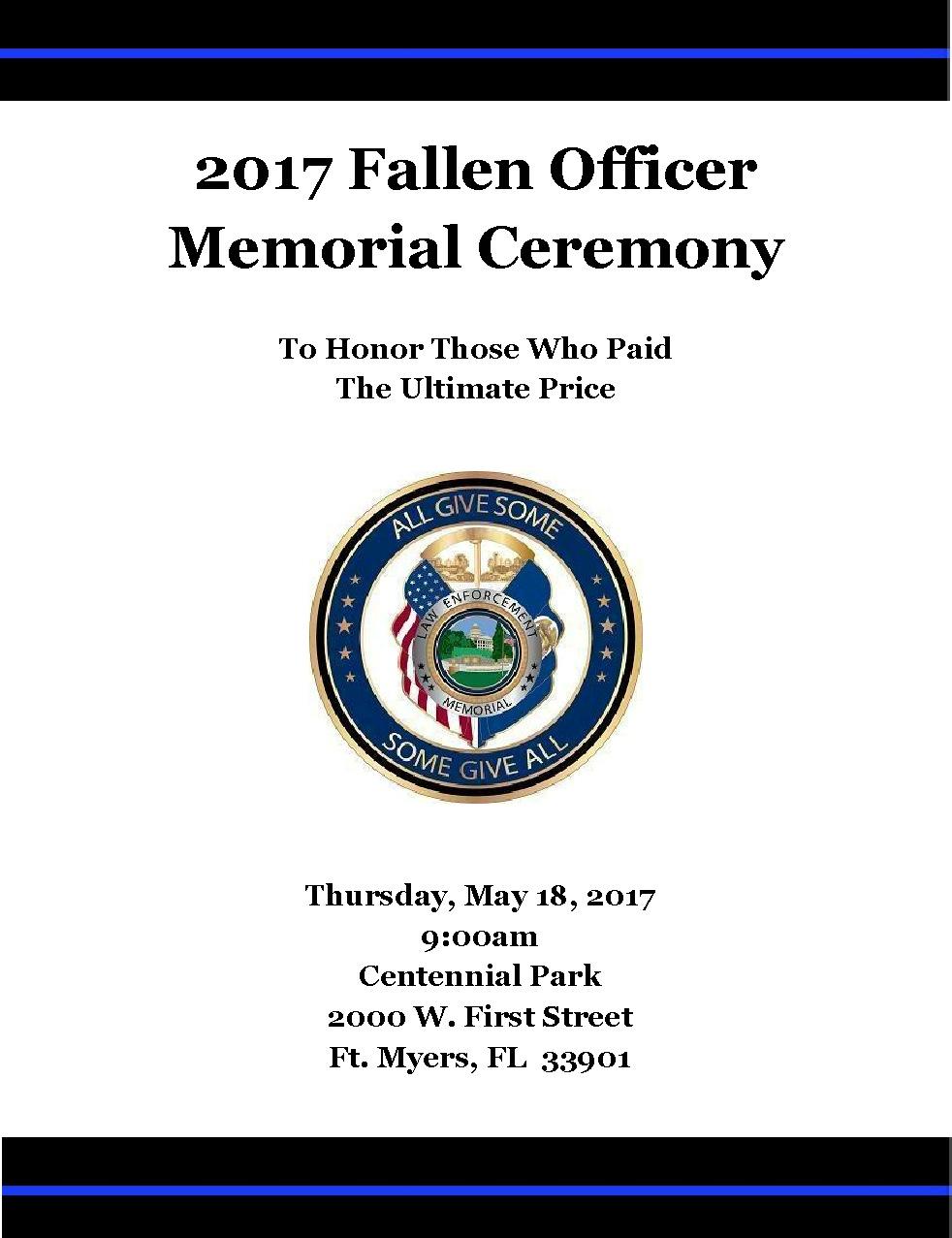 Lee County Fallen Officer Memorial Service Southwest Florida